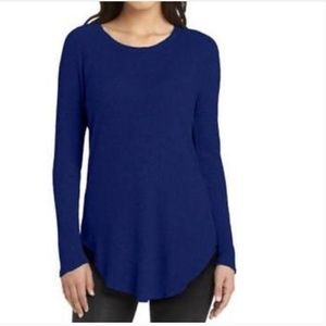 Chaser Long Sleeve Blue Waffle Knit Thermal Top